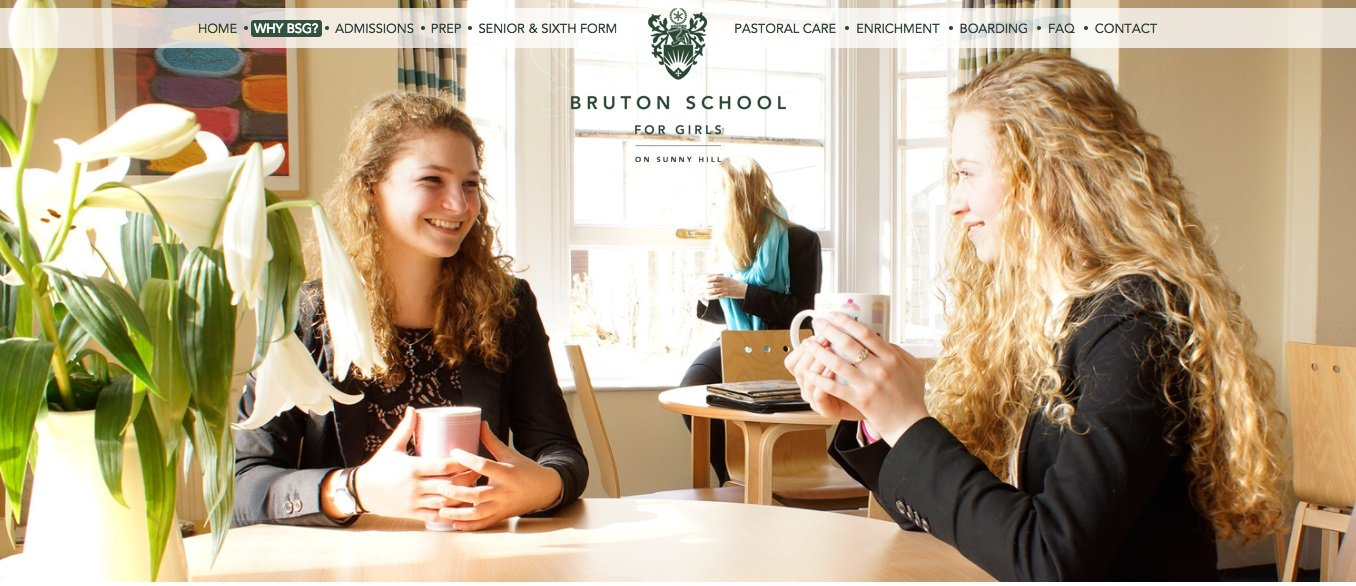 Screenshot of Bruton School for Girls website homepage