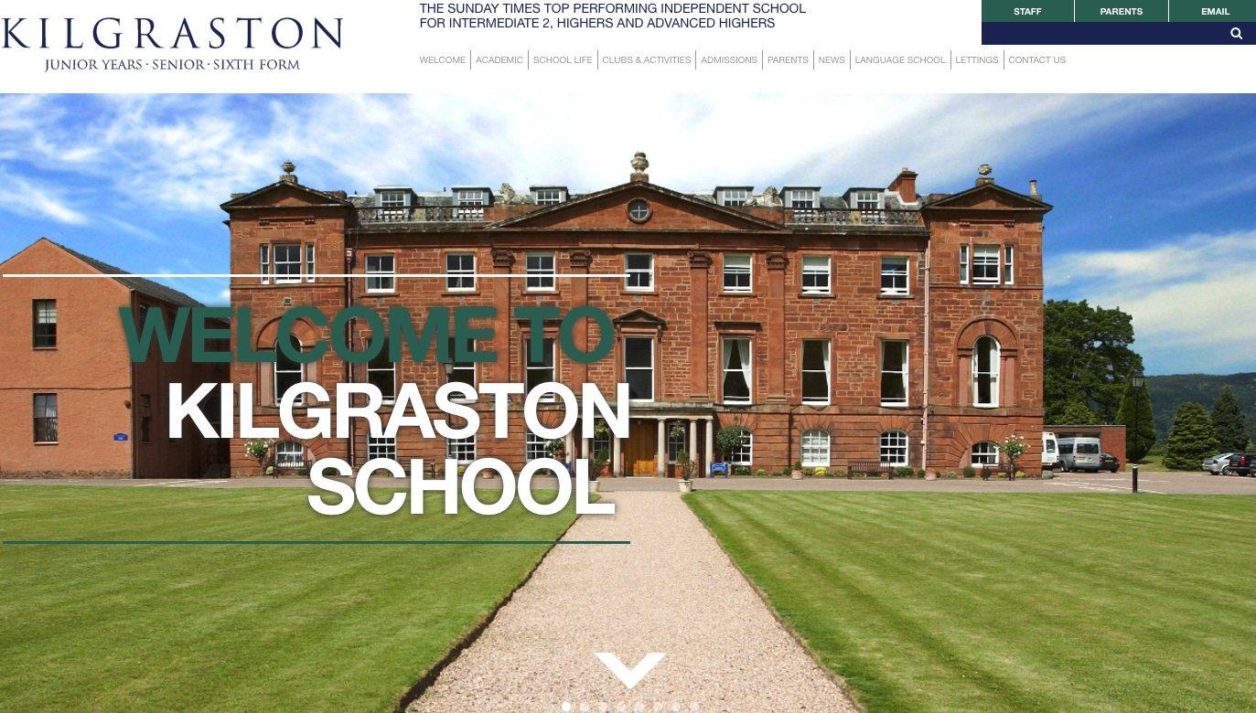 Screenshot of the Kilgraston School website homepage