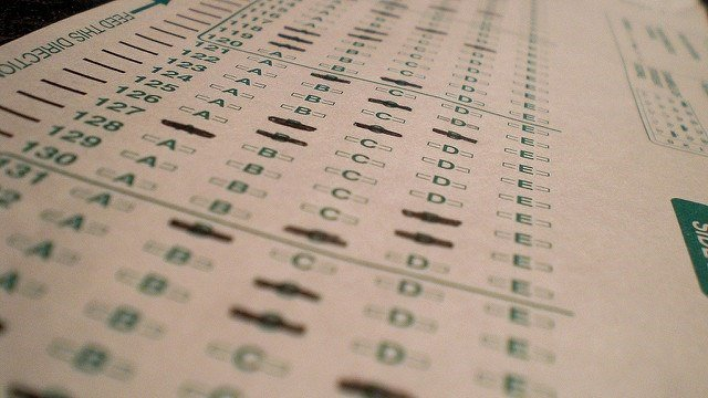 Multiple choice test paper