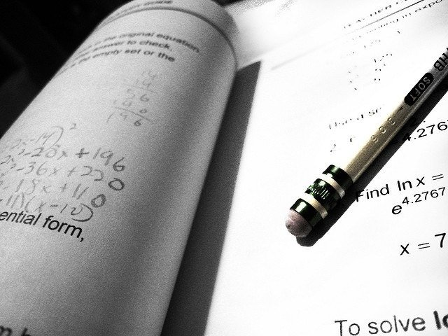 Test paper and pencil